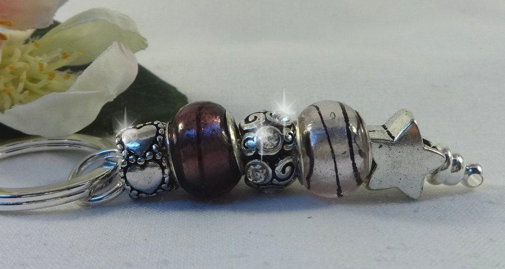 Taschenanhänger Schlüsselanhänger Rosa mit Strass und Stern Kristall Anhänger