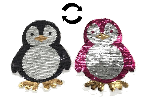 Pinguin Pailletten Applikation Patch 01