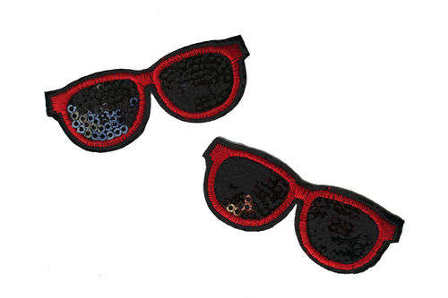 Sonnenbrille Pailletten rot Applikation Patch01