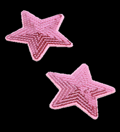 2 Sterne rosa Pailletten Applikation Patch 04