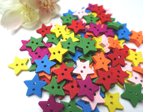 button 15 mm wood 10 pieces star colorful stars 01