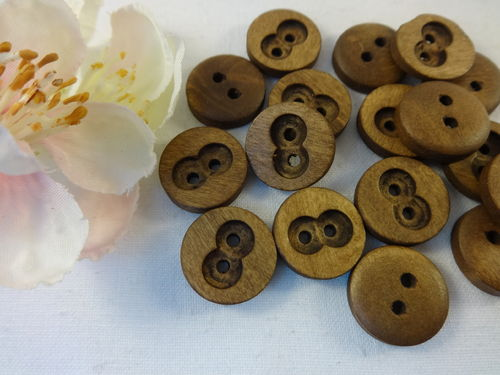 Buttons 15mm wood 10 pieces brown round 2 hole hollowed out