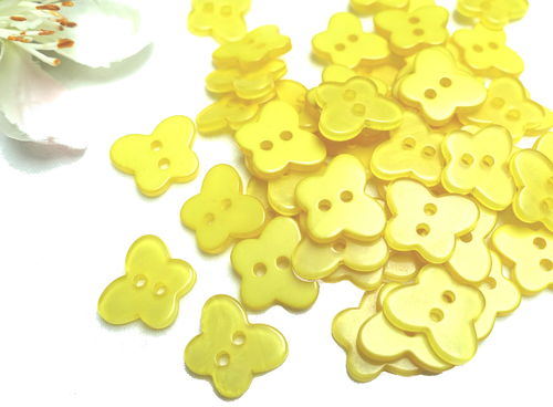 Buttons 13mm acrylic 10 pieces yellow butterfly