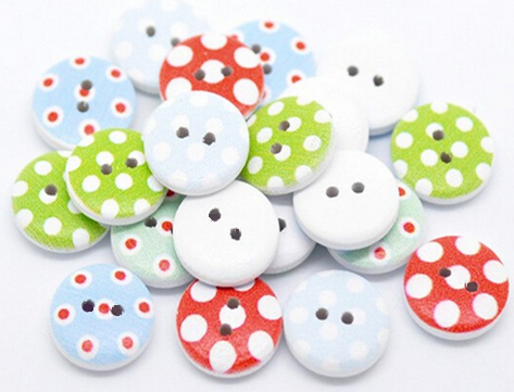 Buttons 15mm wood 10 pieces white colorful round dots