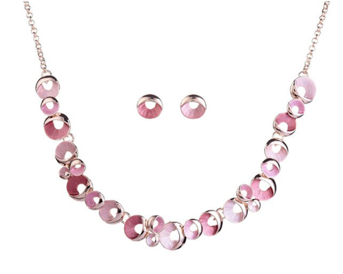 Set rose vergoldet Kette Ohrringe 01 rosa
