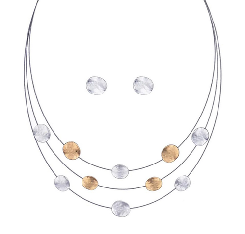 Set versilbert Draht Collier Kette Ohrringe 04 gold