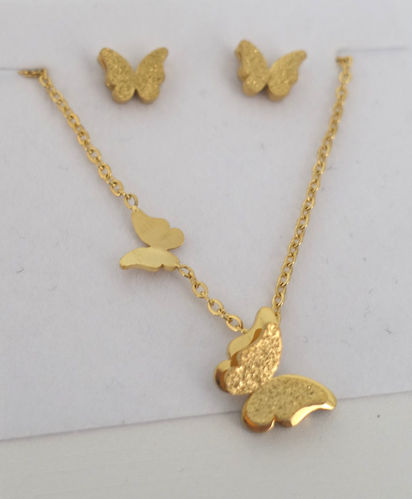 Set Schmetterling gold Kette Ohrringe 01